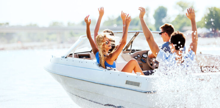 Friends driving a boat
