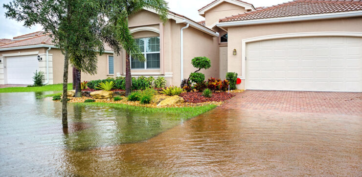 Flooded front yard of a home