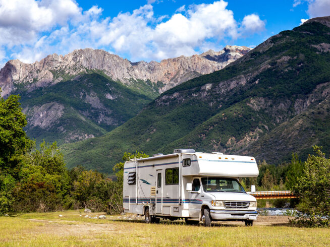 Motorhome parked in the mountains