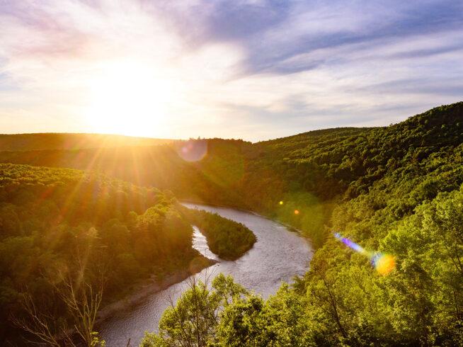 Scenic Delaware river landscape